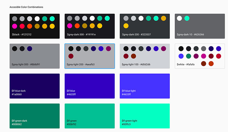 a color palette in Figma with accessible color combinations